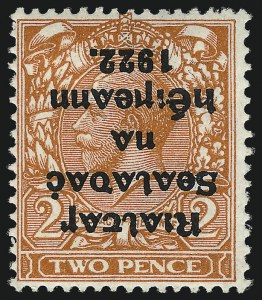 Sale Number 1049, Lot Number 1200, Iraq thru IrelandIRELAND, 1922, 2p Orange, Die II, Inverted Overprint (26a; SG 34 var), IRELAND, 1922, 2p Orange, Die II, Inverted Overprint (26a; SG 34 var)