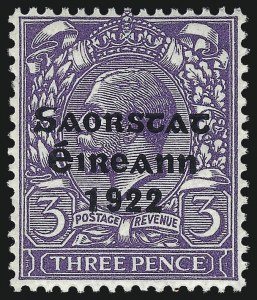 Sale Number 1049, Lot Number 1201, Iraq thru IrelandIRELAND, 1922, 3p Violet, Accent Omitted (49a; SG 57a), IRELAND, 1922, 3p Violet, Accent Omitted (49a; SG 57a)