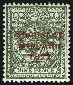 Sale Number 1049, Lot Number 1202, Iraq thru IrelandIRELAND, 1922, 9p Olive Green, Accent Omitted (53a; SG 61a), IRELAND, 1922, 9p Olive Green, Accent Omitted (53a; SG 61a)