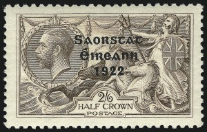 Sale Number 1049, Lot Number 1203, Iraq thru IrelandIRELAND, 1922, 2sh6p Seahorse, Accent Omitted (56a; SG 64b), IRELAND, 1922, 2sh6p Seahorse, Accent Omitted (56a; SG 64b)