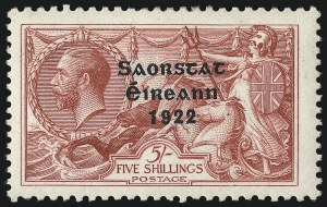Sale Number 1049, Lot Number 1204, Iraq thru IrelandIRELAND, 1922, 5sh Seahorse, Accent Omitted (57a; SG 65a), IRELAND, 1922, 5sh Seahorse, Accent Omitted (57a; SG 65a)