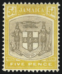 "Sale Number 1049, Lot Number 1208, JamaicaJAMAICA, 1904, 5p Yellow & Black, ""SERv ET"" Variety (36a; SG 36a), JAMAICA, 1904, 5p Yellow & Black, ""SERv ET"" Variety (36a; SG 36a)"