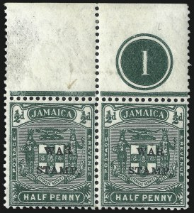 "Sale Number 1049, Lot Number 1209, JamaicaJAMAICA, 1916, -1/2p Green, War Tax, ""R"" Inserted by Hand (MR4c; SG 70c), JAMAICA, 1916, -1/2p Green, War Tax, ""R"" Inserted by Hand (MR4c; SG 70c)"