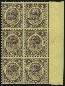 "Sale Number 1049, Lot Number 1210, JamaicaJAMAICA, 1916, 3p Violet on Yellow, War Tax, ""S"" of ""Stamp"" Omitted (MR6b; SG 72d), JAMAICA, 1916, 3p Violet on Yellow, War Tax, ""S"" of ""Stamp"" Omitted (MR6b; SG 72d)"