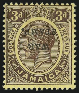 Sale Number 1049, Lot Number 1211, JamaicaJAMAICA, 1916, 3p Violet on Yellow, War Tax, Inverted Overprint (MR6d; SG 72aa), JAMAICA, 1916, 3p Violet on Yellow, War Tax, Inverted Overprint (MR6d; SG 72aa)