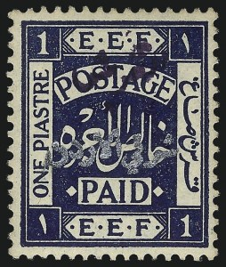 Sale Number 1049, Lot Number 1213, JordanJORDAN, 1922, 1pi Dark Blue with Violet Overprint (20A; SG 31b), JORDAN, 1922, 1pi Dark Blue with Violet Overprint (20A; SG 31b)