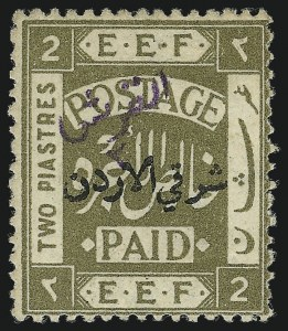 Sale Number 1049, Lot Number 1214, JordanJORDAN, 1922, 2pi Olive Green with Violet Overprint (22A; SG 25c), JORDAN, 1922, 2pi Olive Green with Violet Overprint (22A; SG 25c)