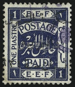 Sale Number 1049, Lot Number 1220, JordanJORDAN, 1923, 1pi Dark Blue with Black Overprint (58b; SG 65b), JORDAN, 1923, 1pi Dark Blue with Black Overprint (58b; SG 65b)