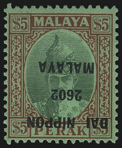 Sale Number 1049, Lot Number 1295, Malaya States (Perak thru Trengganu)MALAYA, PERAK, 1942, $5.00 Red on Emerald, Japanese Occupation Ovpt., Inverted Ovpt. (N24a; SG J253a), MALAYA, PERAK, 1942, $5.00 Red on Emerald, Japanese Occupation Ovpt., Inverted Ovpt. (N24a; SG J253a)
