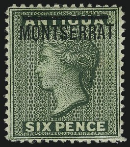 "Sale Number 1049, Lot Number 1319, Montserrat thru New BritainMONTSERRAT, 1876, 6p Green, ""S"" Inverted (2c; SG 2b), MONTSERRAT, 1876, 6p Green, ""S"" Inverted (2c; SG 2b)"