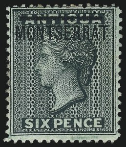 Sale Number 1049, Lot Number 1320, Montserrat thru New BritainMONTSERRAT, 1876, 6p Blue Green (2d; SG 3), MONTSERRAT, 1876, 6p Blue Green (2d; SG 3)