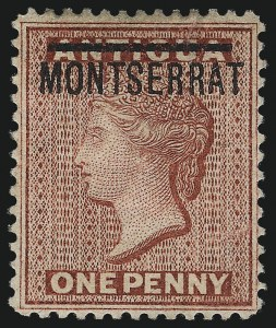 "Sale Number 1049, Lot Number 1321, Montserrat thru New BritainMONTSERRAT, 1884, 1p Rose Red, ""S"" Inverted (6b; SG 8a), MONTSERRAT, 1884, 1p Rose Red, ""S"" Inverted (6b; SG 8a)"