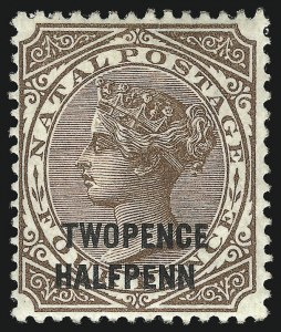 "Sale Number 1049, Lot Number 1324, Montserrat thru New BritainNATAL, 1891, 2-1/2p on 4p Brown, ""Y"" of ""Penny"" Omitted (77b; SG 109b), NATAL, 1891, 2-1/2p on 4p Brown, ""Y"" of ""Penny"" Omitted (77b; SG 109b)"