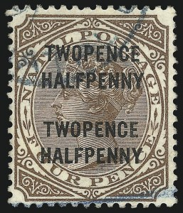 Sale Number 1049, Lot Number 1325, Montserrat thru New BritainNATAL, 1891, 2-1/2p on 4p Brown, Double Surcharge (77c; SG 109c), NATAL, 1891, 2-1/2p on 4p Brown, Double Surcharge (77c; SG 109c)