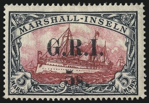 Sale Number 1049, Lot Number 1331, Montserrat thru New BritainNEW BRITAIN, 1914, 5sh on 5m Slate & Carmine (42; SG 62), NEW BRITAIN, 1914, 5sh on 5m Slate & Carmine (42; SG 62)