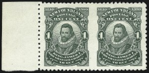 Sale Number 1049, Lot Number 1338, NewfoundlandNEWFOUNDLAND, 1910, 1c Deep Green, Perf 12 x 11, Horizontal Pair, Imperforate Between (87c; SG 109a), NEWFOUNDLAND, 1910, 1c Deep Green, Perf 12 x 11, Horizontal Pair, Imperforate Between (87c; SG 109a)