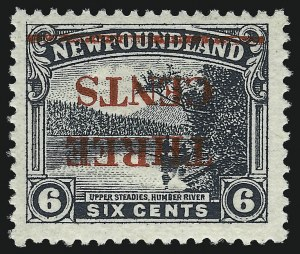 Sale Number 1049, Lot Number 1341, NewfoundlandNEWFOUNDLAND, 1929, 3c on 6c Gray Black, Ty. II, Inverted Surcharge (160a, SG 188a), NEWFOUNDLAND, 1929, 3c on 6c Gray Black, Ty. II, Inverted Surcharge (160a, SG 188a)