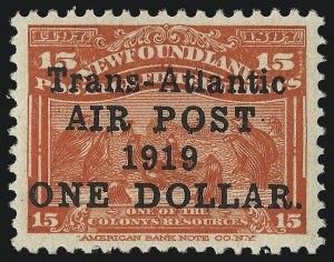 "Sale Number 1049, Lot Number 1343, NewfoundlandNEWFOUNDLAND, 1919, $1.00 on 15c Scarlet, Air Post, Without Period After ""1919"" (C2b; SG 143b), NEWFOUNDLAND, 1919, $1.00 on 15c Scarlet, Air Post, Without Period After ""1919"" (C2b; SG 143b)"