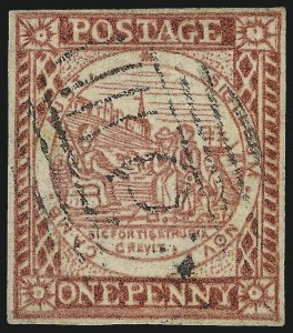 Sale Number 1049, Lot Number 1350, New South WalesNEW SOUTH WALES, 1850, 1p Carmine Red on Laid Paper (2b; SG 14), NEW SOUTH WALES, 1850, 1p Carmine Red on Laid Paper (2b; SG 14)