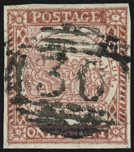 Sale Number 1049, Lot Number 1351, New South WalesNEW SOUTH WALES, 1850, 1p Carmine Red on Bluish Wove Paper (2c; SG 11), NEW SOUTH WALES, 1850, 1p Carmine Red on Bluish Wove Paper (2c; SG 11)