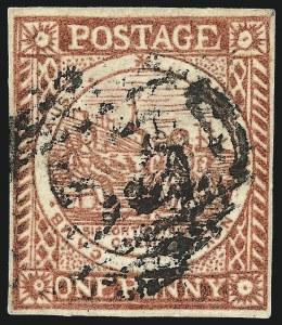 Sale Number 1049, Lot Number 1352, New South WalesNEW SOUTH WALES, 1850, 1p Carmine Red on Bluish Laid Paper (2e; SG 13), NEW SOUTH WALES, 1850, 1p Carmine Red on Bluish Laid Paper (2e; SG 13)
