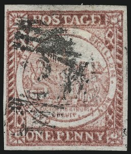 Sale Number 1049, Lot Number 1353, New South WalesNEW SOUTH WALES, 1850, 1p Carmine Red on Bluish Wove Paper, Without Clouds (2k; SG 12c), NEW SOUTH WALES, 1850, 1p Carmine Red on Bluish Wove Paper, Without Clouds (2k; SG 12c)