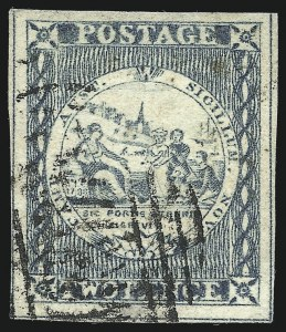 Sale Number 1049, Lot Number 1356, New South WalesNEW SOUTH WALES, 1850, 2p Gray Blue on Wove Paper, Intermediate Impression, Plate I (3d; SG 16b), NEW SOUTH WALES, 1850, 2p Gray Blue on Wove Paper, Intermediate Impression, Plate I (3d; SG 16b)