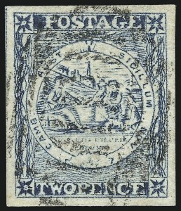 Sale Number 1049, Lot Number 1358, New South WalesNEW SOUTH WALES, 1850, 2p Gray Blue on Wove Paper, Late Impression, Plate II, Pick and Shovel Omitted (5d; SG 16b), NEW SOUTH WALES, 1850, 2p Gray Blue on Wove Paper, Late Impression, Plate II, Pick and Shovel Omitted (5d; SG 16b)
