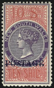 Sale Number 1049, Lot Number 1375, New South WalesNEW SOUTH WALES, 1904, 10sh Bright Rose & Violet, Perf 11 (108Bc; SG 275a), NEW SOUTH WALES, 1904, 10sh Bright Rose & Violet, Perf 11 (108Bc; SG 275a)