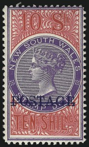 Sale Number 1049, Lot Number 1376, New South WalesNEW SOUTH WALES, 1904, 10sh Aniline Crimson & Violet, Perf 12 (108Be; SG 277), NEW SOUTH WALES, 1904, 10sh Aniline Crimson & Violet, Perf 12 (108Be; SG 277)