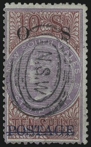 Sale Number 1049, Lot Number 1380, New South WalesNEW SOUTH WALES, 1889, 10sh Rose & Violet, Official (O23; SG O37), NEW SOUTH WALES, 1889, 10sh Rose & Violet, Official (O23; SG O37)