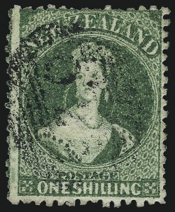 Sale Number 1049, Lot Number 1384, New ZealandNEW ZEALAND, 1864, 1sh Yellow Green, Perf 13 (30C; SG 106), NEW ZEALAND, 1864, 1sh Yellow Green, Perf 13 (30C; SG 106)