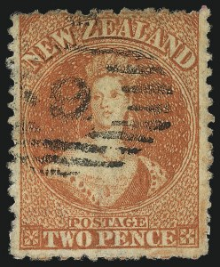 Sale Number 1049, Lot Number 1386, New ZealandNEW ZEALAND, 1873, 2p Vermilion, Watermark Lozenges (50; SG 142), NEW ZEALAND, 1873, 2p Vermilion, Watermark Lozenges (50; SG 142)
