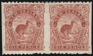 Sale Number 1049, Lot Number 1387, New ZealandNEW ZEALAND, 1902, 6p Rose Red, Horizontal Pair, Imperforate Vertically (115d; SG 312ba), NEW ZEALAND, 1902, 6p Rose Red, Horizontal Pair, Imperforate Vertically (115d; SG 312ba)