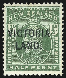 Sale Number 1049, Lot Number 1388, New ZealandNEW ZEALAND, 1911, -1/2p Yellow Green, Victoria Land (130d; SG A2), NEW ZEALAND, 1911, -1/2p Yellow Green, Victoria Land (130d; SG A2)