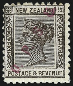 Sale Number 1049, Lot Number 1389, New ZealandNEW ZEALAND, 1891, 6p Brown, Official, Magenta Overprint (O5; SG O15), NEW ZEALAND, 1891, 6p Brown, Official, Magenta Overprint (O5; SG O15)