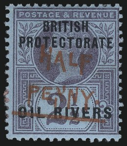 Sale Number 1049, Lot Number 1397, Niger Coast Protectorate thru NiueNIGER COAST PROTECTORATE, 1893, -1/2p on 2-1/2p Violet on Bluish, Red Surcharge (17; SG 31), NIGER COAST PROTECTORATE, 1893, -1/2p on 2-1/2p Violet on Bluish, Red Surcharge (17; SG 31)