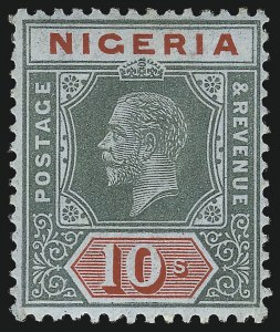 Sale Number 1049, Lot Number 1407, Niger Coast Protectorate thru NiueNIGERIA, 1914, 10sh Green and Red on Blue Green, Olive Back (11b; SG 11b), NIGERIA, 1914, 10sh Green and Red on Blue Green, Olive Back (11b; SG 11b)
