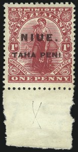 "Sale Number 1049, Lot Number 1409, Niger Coast Protectorate thru NiueNIUE, 1917, 1p Carmine, No Period After ""Peni"" (19a; SG 21a), NIUE, 1917, 1p Carmine, No Period After ""Peni"" (19a; SG 21a)"