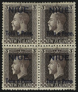 "Sale Number 1049, Lot Number 1410, Niger Coast Protectorate thru NiueNIUE, 1917, 3p Violet Brown, No Period After ""Pene"" (20a; SG 22a), NIUE, 1917, 3p Violet Brown, No Period After ""Pene"" (20a; SG 22a)"