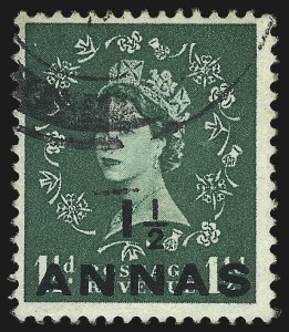 Sale Number 1049, Lot Number 1428, North West Pacific Islands thru QueenslandOMAN, 1955, 1-1/2a on 1-1/2p Green, St. Edward's Crown Watermark (56A; SG 58a), OMAN, 1955, 1-1/2a on 1-1/2p Green, St. Edward's Crown Watermark (56A; SG 58a)