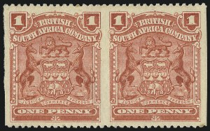 Sale Number 1049, Lot Number 1444, Rhodesia RHODESIA, 1905, 1p Red, Horizontal Pair, Imperforate Vertically (60b; SG 78a), RHODESIA, 1905, 1p Red, Horizontal Pair, Imperforate Vertically (60b; SG 78a)