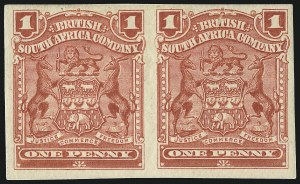 Sale Number 1049, Lot Number 1445, Rhodesia RHODESIA, 1905, 1p Red, Horizontal Pair, Imperforate (60g; SG 78b), RHODESIA, 1905, 1p Red, Horizontal Pair, Imperforate (60g; SG 78b)