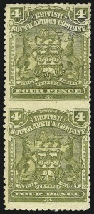 Sale Number 1049, Lot Number 1446, Rhodesia RHODESIA, 1898, 4p Olive Green, Vertical Pair, Imperforate Between (64a; SG 82a), RHODESIA, 1898, 4p Olive Green, Vertical Pair, Imperforate Between (64a; SG 82a)