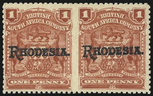 Sale Number 1049, Lot Number 1447, Rhodesia RHODESIA, 1909, 1p Carmine, Horizontal Pair, Imperforate Between (83a; SG 101b), RHODESIA, 1909, 1p Carmine, Horizontal Pair, Imperforate Between (83a; SG 101b)