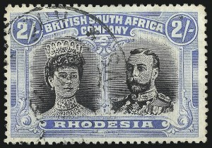 Sale Number 1049, Lot Number 1448, Rhodesia RHODESIA, 1901, 2sh Gray Blue & Black, Perf 15 (112a; SG 178), RHODESIA, 1901, 2sh Gray Blue & Black, Perf 15 (112a; SG 178)