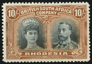 Sale Number 1049, Lot Number 1449, Rhodesia RHODESIA, 1910, 10sh Red Orange & Blue Green (117; SG 164), RHODESIA, 1910, 10sh Red Orange & Blue Green (117; SG 164)