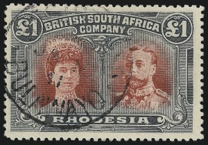 Sale Number 1049, Lot Number 1450, Rhodesia RHODESIA, 1910, £1 Black & Red (118a; SG 166), RHODESIA, 1910, £1 Black & Red (118a; SG 166)