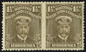 Sale Number 1049, Lot Number 1451, Rhodesia RHODESIA, 1917, 1-1/2p Bister Brown, Horizontal Pair, Imperforate Between (121a; SG 198a), RHODESIA, 1917, 1-1/2p Bister Brown, Horizontal Pair, Imperforate Between (121a; SG 198a)