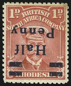 Sale Number 1049, Lot Number 1453, Rhodesia RHODESIA, 1917, -1/2p on 1p Brown Rose, Inverted Surcharge (139a; SG 280a), RHODESIA, 1917, -1/2p on 1p Brown Rose, Inverted Surcharge (139a; SG 280a)